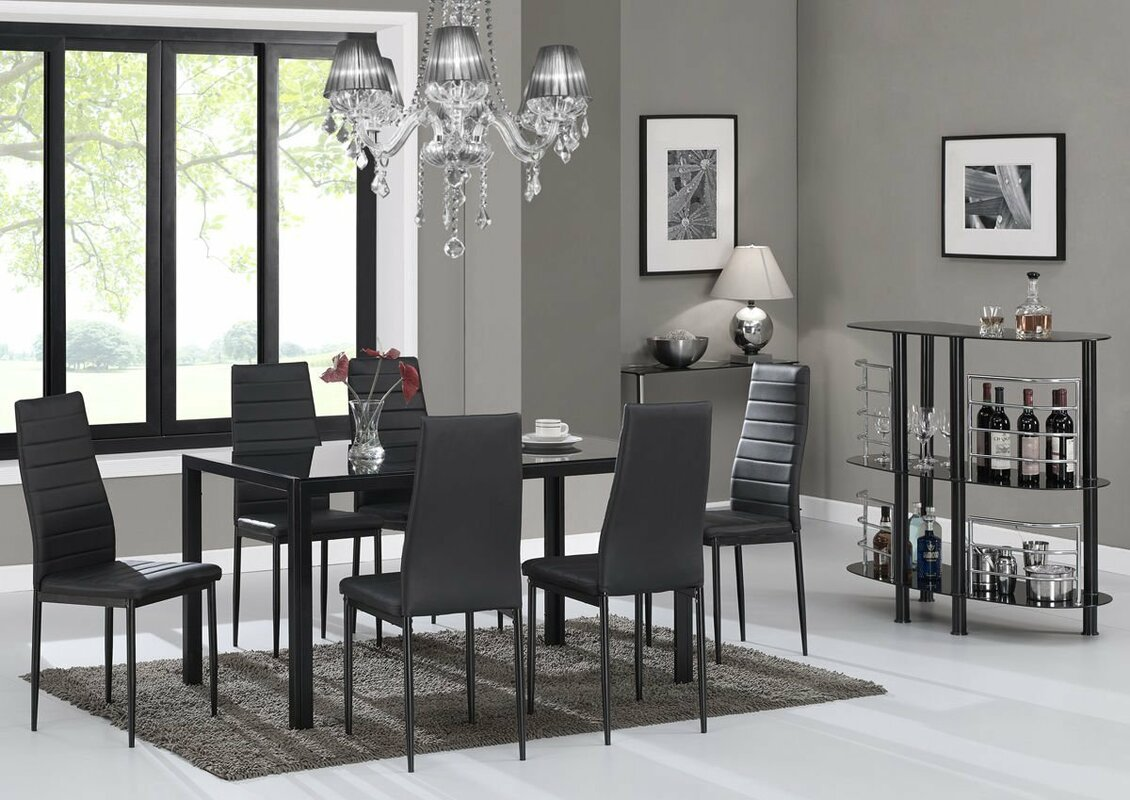 rosenzweig glass top dining set (set of ). modern dining room sets you'll love  wayfair