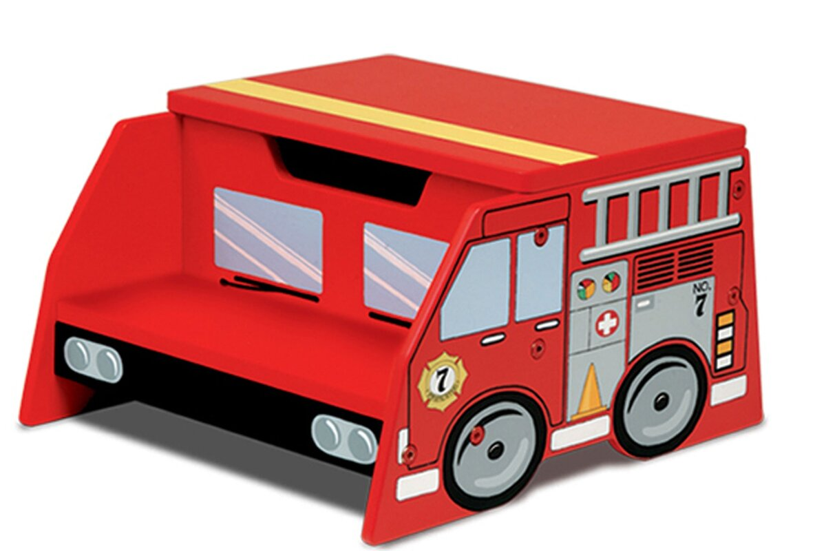 KidKraft Firefighter Fire Truck Step Stool with Storage & Reviews ...