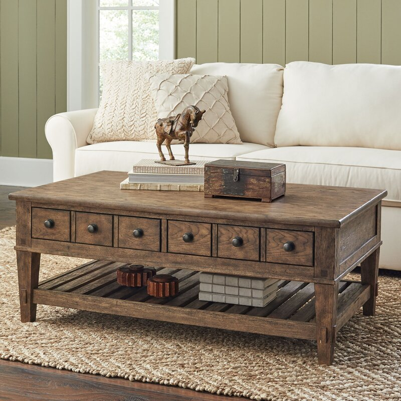 Vintage Wood Coffee Table Nage Designs: Derrickson Coffee Table With Drawers & Reviews