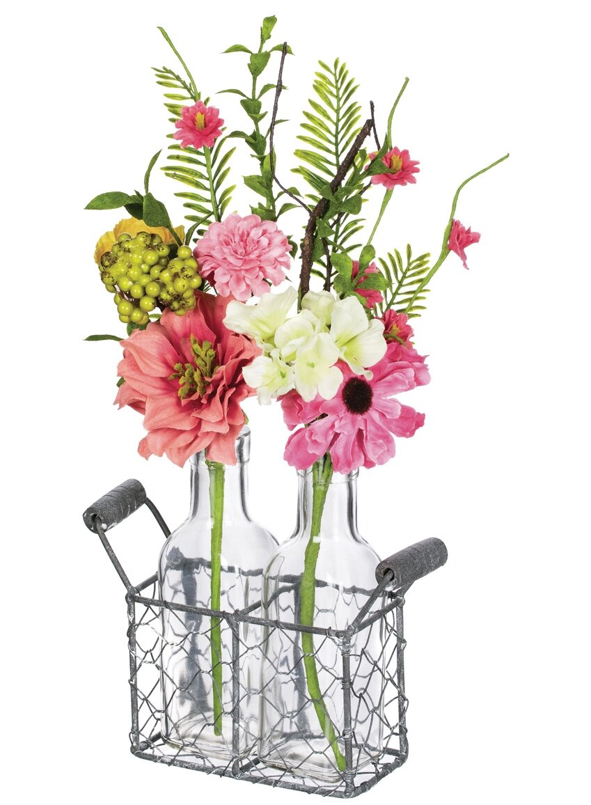 August Grove Spring Flower And Berry Floral Arrangement In Bottles