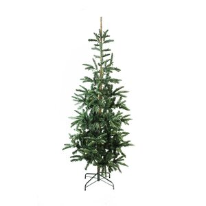 Pre-Lit Layered Noble 6.5' Green Fir Artificial Christmas Tree with 250 Warm Clear LED Lights with Stand
