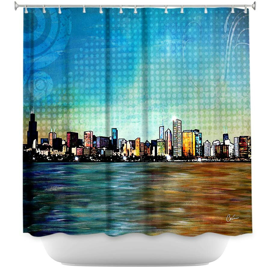 DiaNocheDesigns Chicago Skyline Shower Curtain