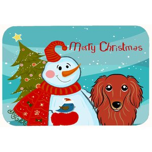 Snowman with Longhair Dachshund Kitchen/Bath Mat
