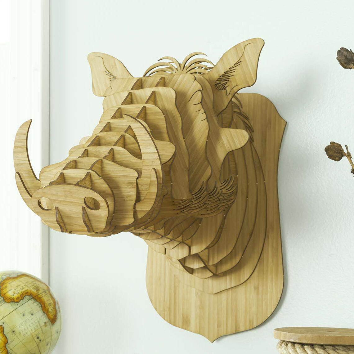 Antler Home Winston the Bamboo Warthog Head Wall Décor | Wayfair