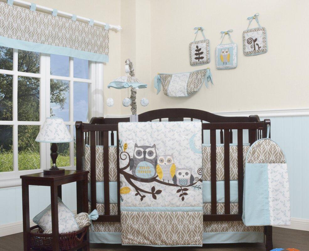 Orange owl crib bedding - Enchanted Forest Owls Family 13 Piece Crib Bedding Set