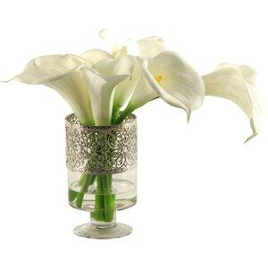 Calla Lilies in Glass Pedestal Vase