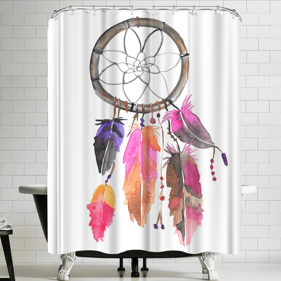 East Urban Home Jetty Printables Pink And Purple Watercolor Dreamcatcher Shower Curtain