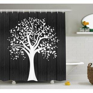 Caroline A Tree With Many Leaves Pattern Wooden Background Botanical Decor Illustration Shower Curtain