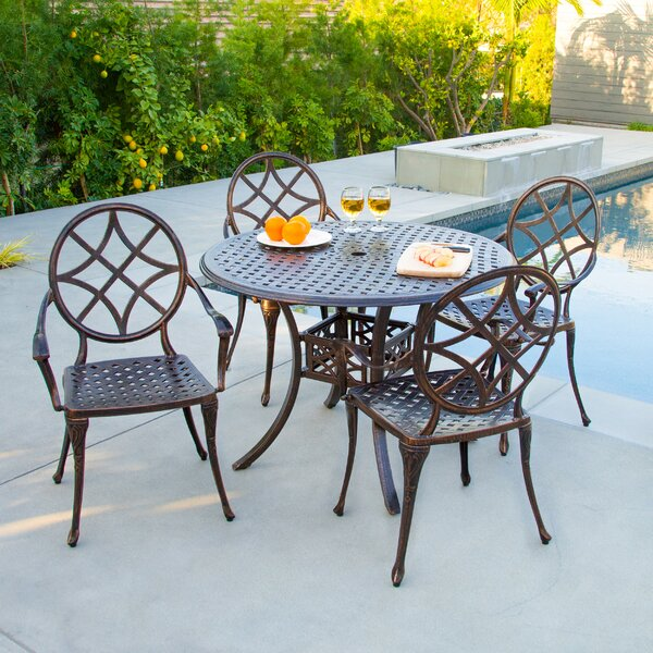 - Cast Aluminum Copper Dining Set Wayfair