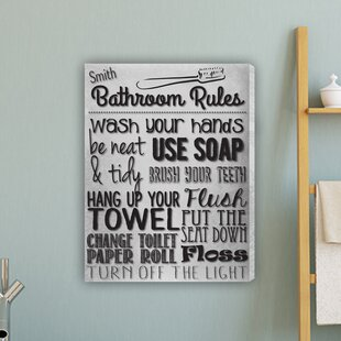 Delightful Bathroom Rules Textual Art On Canvas In White