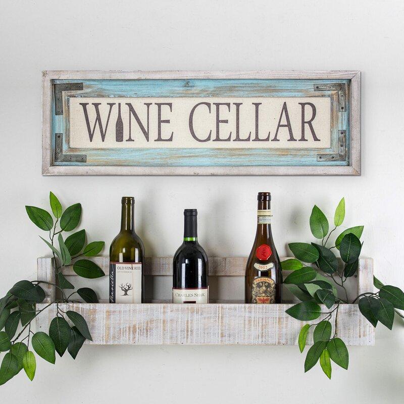 August Grove \'Wine Cellar\' Wood Framed Canvas Sign Farmhouse Wall ...