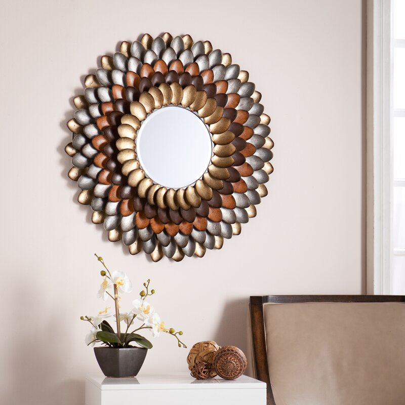 Red Wall Mirror red barrel studio decorative round wall mirror & reviews | wayfair