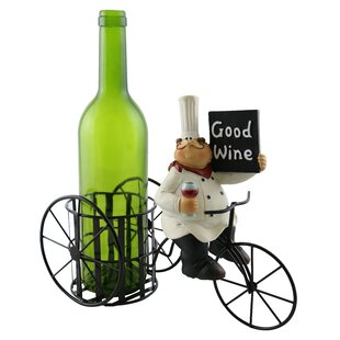 Roseann Chef Holding Sign Enjoying a Glass of Wine 1 Bottle Tabletop Wine Rack