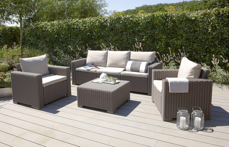 California 5 Seater Rattan Sofa Set With Cushions