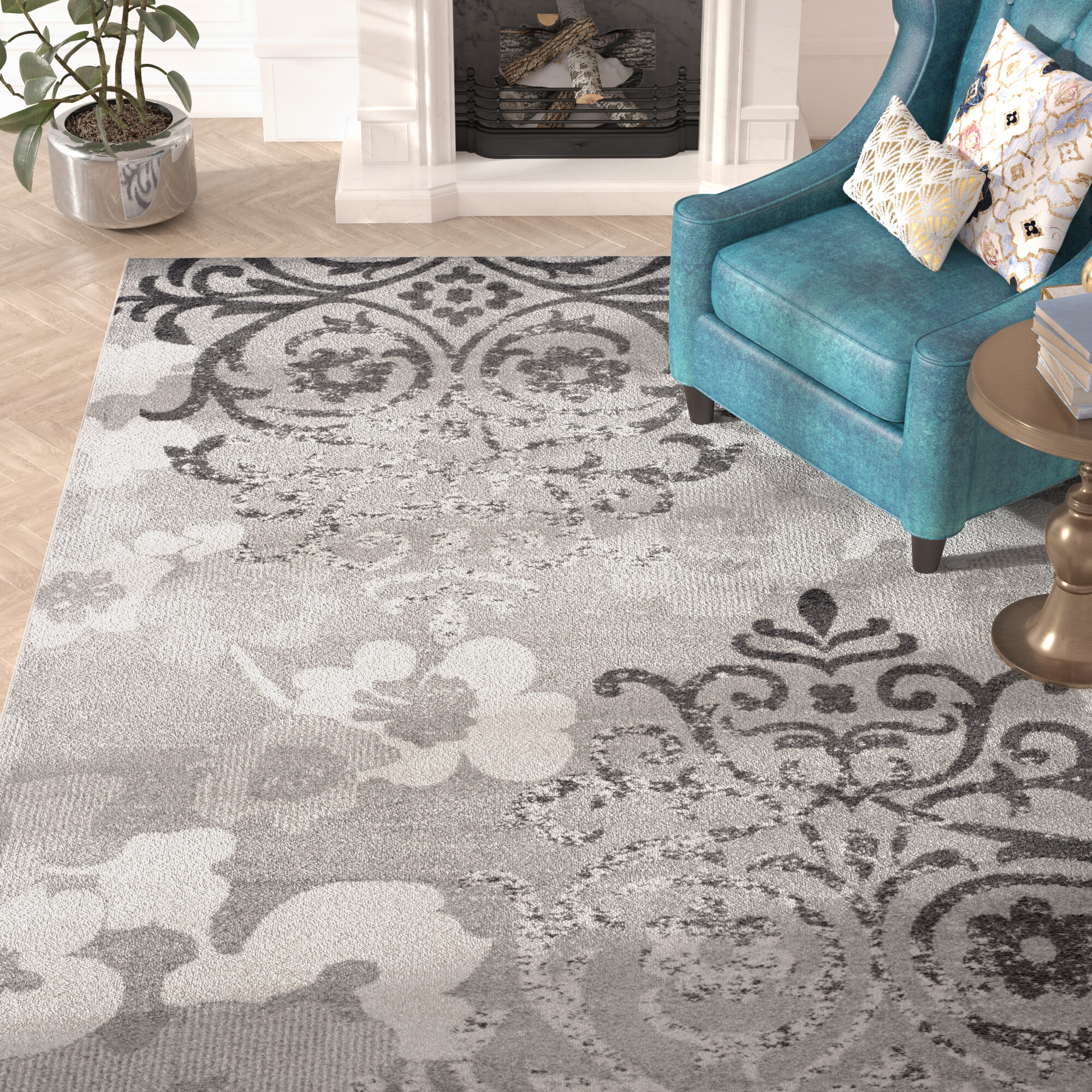 Salon Taupe Et Turquoise brown & tan floral rugs you'll love in 2019   wayfair