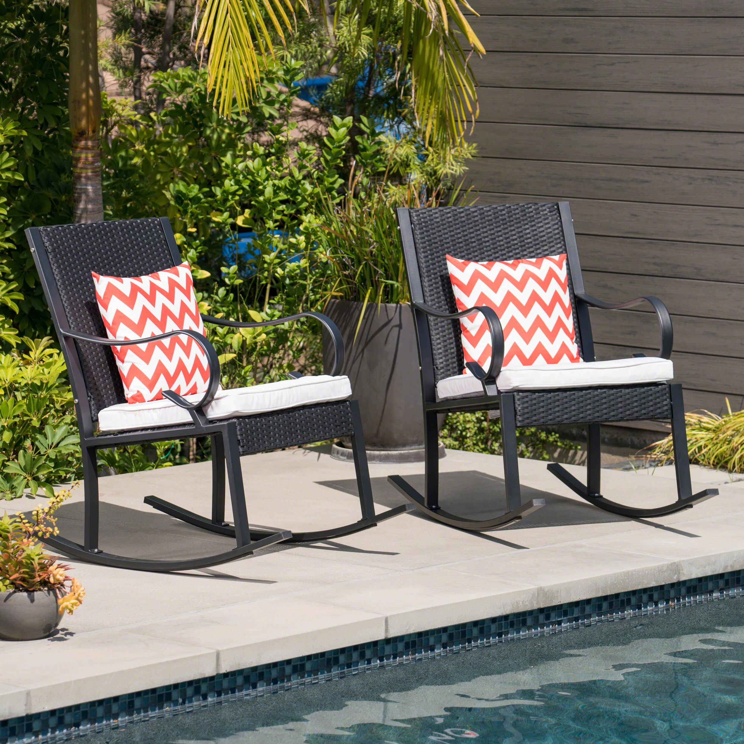 Genial Kampmann Outdoor Wicker Rocking Chair With Cushions