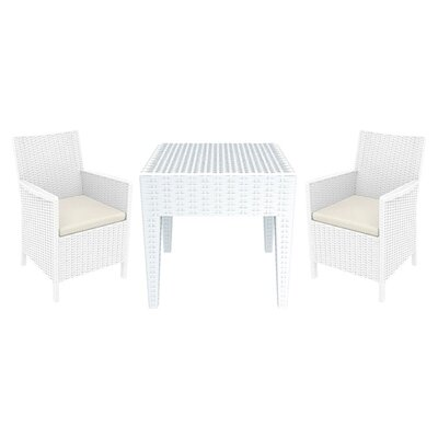 Brayden Studio Racheal 3 Piece Seating Group Color: White