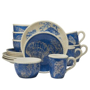 Hertel Seaside 16 Piece Dinnerware Set Service for 4  sc 1 st  Wayfair & Coastal Dinnerware Sets You\u0027ll Love | Wayfair