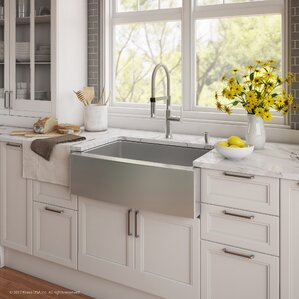 Kraus Handmade Series 29.75� x 20.75� Farmhouse Kitchen Sink with Faucet and Soap Dispenser