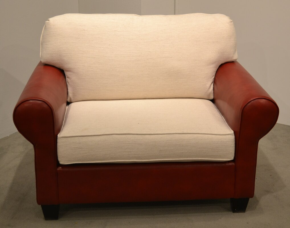 carolina classic furniture leather and fabric chair and a half