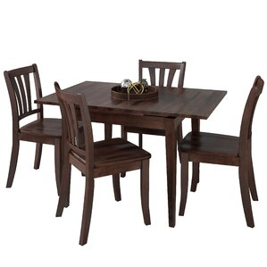 Liggett 5 Piece Extendable Wood Dining Set by Three Posts
