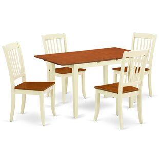 Kronos 5 Piece Extendable Solid Wood Dining Set