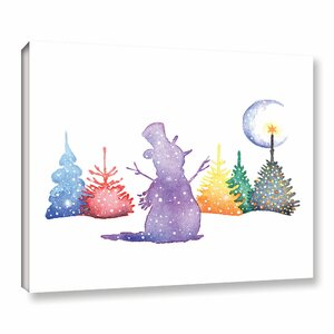 'Holiday Snowman' Print on Wrapped Canvas