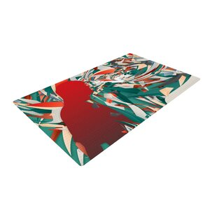 Danny Ivan Soccer Headshot Teal/Red Area Rug