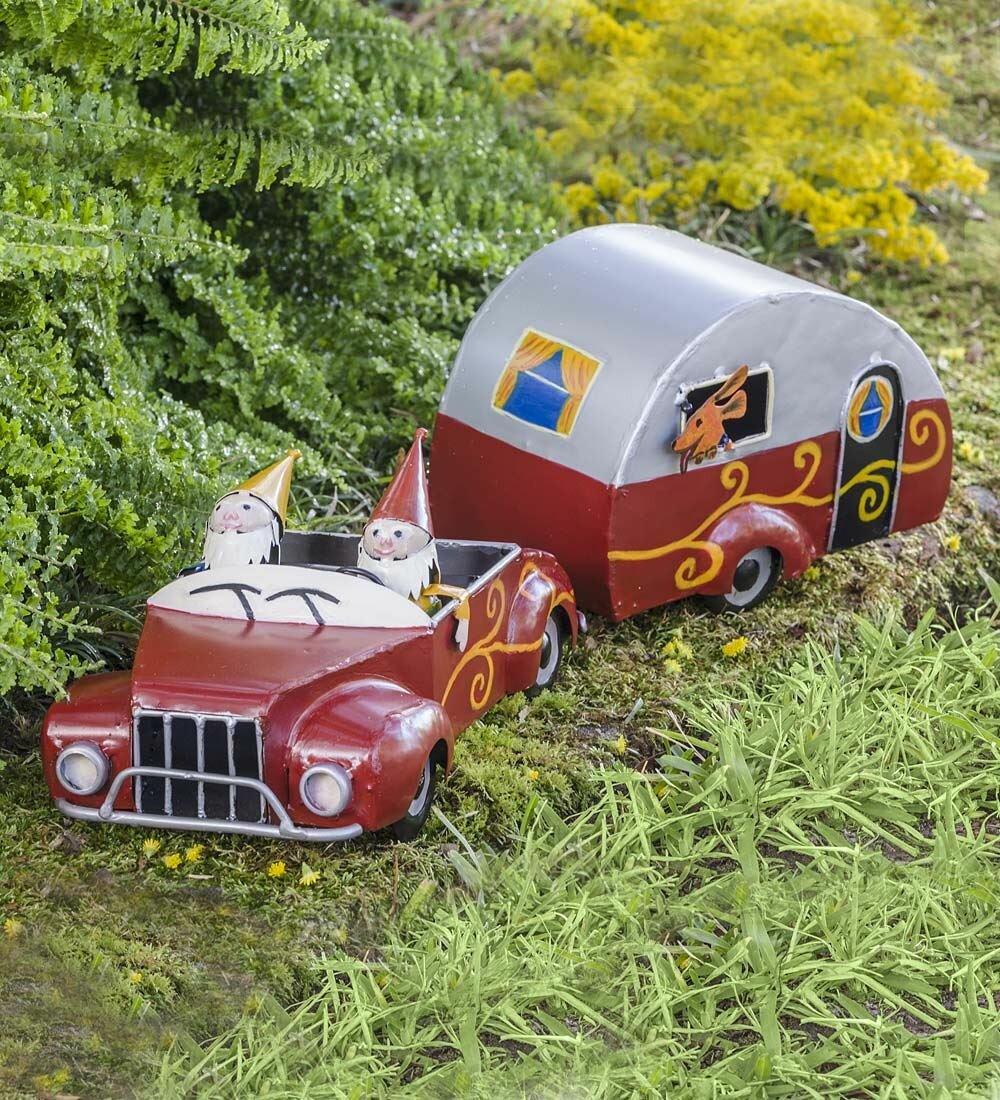 Plow U0026 Hearth Metal Camping Gnomes Fairy Garden | Wayfair