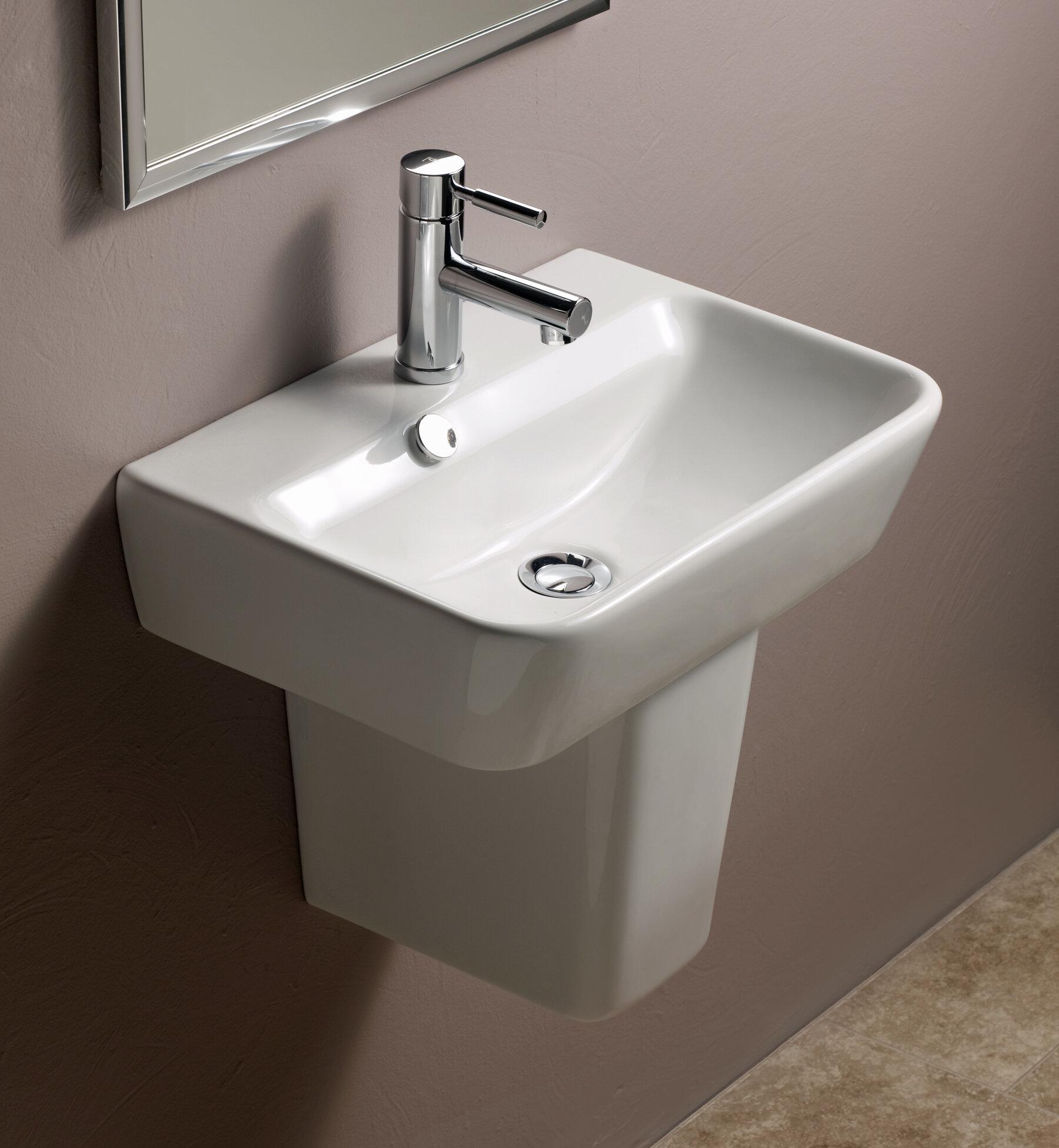 Zipcode Design Doraville Vitreous China 20 Semi Pedestal Bathroom Sink With Overflow Wayfair
