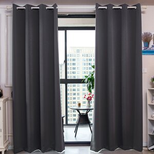 Elinore Solid Blackout Thermal Grommet Curtain Panels (Set of 2)