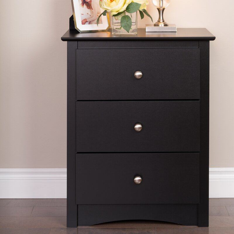 Latitude Run Wanda Tall Black 3 Drawer Nightstand & Reviews