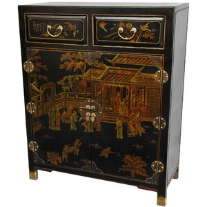 Lacquer 2 Drawer Accent Cabinet