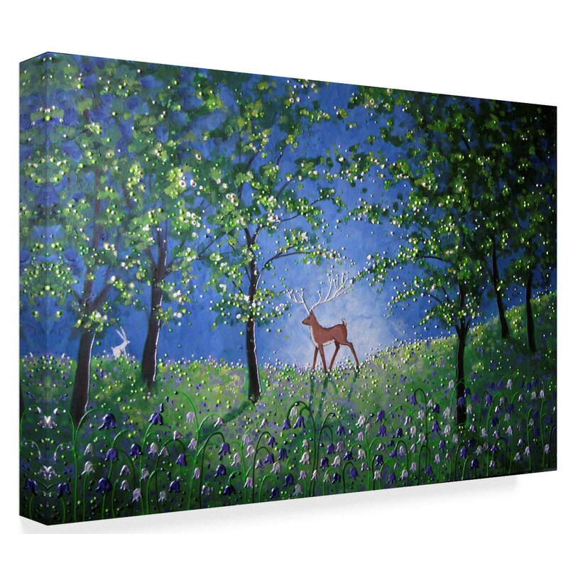 d673e7589a7f1 'Evening in The Bluebell Wood' Watercolor Painting Print on Wrapped Canvas