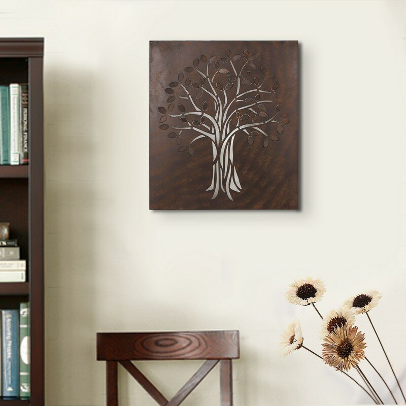 AdecoTrading Decorative Rusted Laser Cut Tree Iron Widget Wall Decor ...