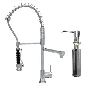 VIGO Zurich Single Handle Pull-Down Spray Kitchen Faucet with Soap Dispenser