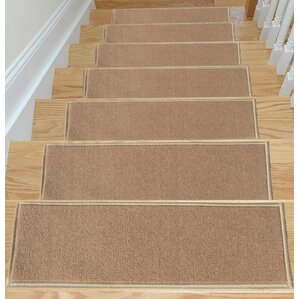 Escalier Skid Resistant Rubber Backing Non Slip Carpet Dark Beige Stair  Tread