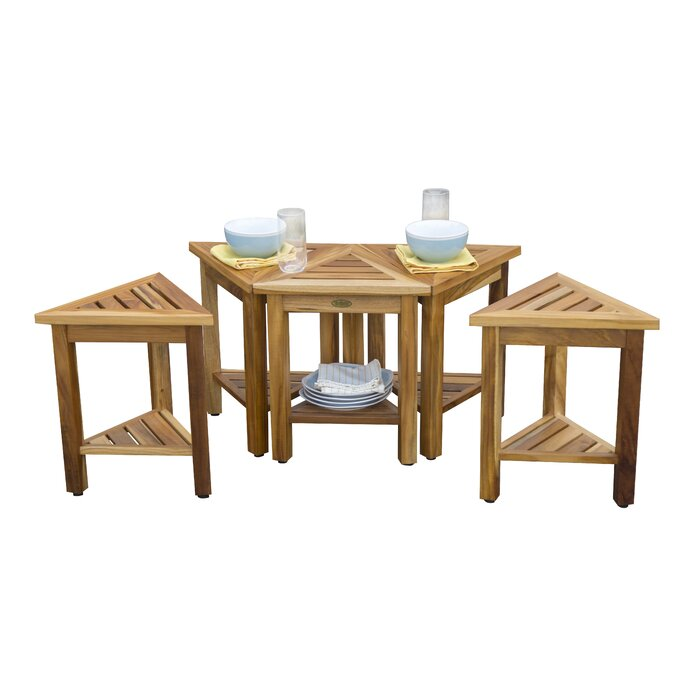 EcoDecors EarthyTeak FlexiCorner Triangle Shower Bench With Shelf - Triangle picnic table