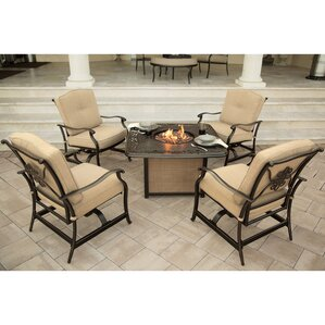 Lauritsen 5 Piece Aluminum Fire Pit Seating Group With Cushions