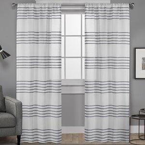 Dibella Striped Sheer Rod Pocket Curtain Panels (Set of 2)