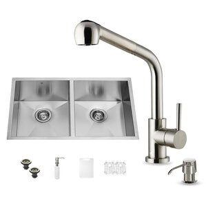 VIGO 32 inch Undermount 50/50 Double Bowl 16 Gauge Stainless Steel Kitchen Sink with Avondale Stainless Steel Faucet, Two ...