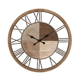 Oversized Wood And Metal 36 Wall Clock