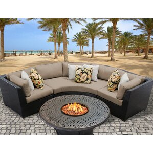 Barbados Outdoor Wicker 4 Piece Fire Pit Seating Group With Cushion