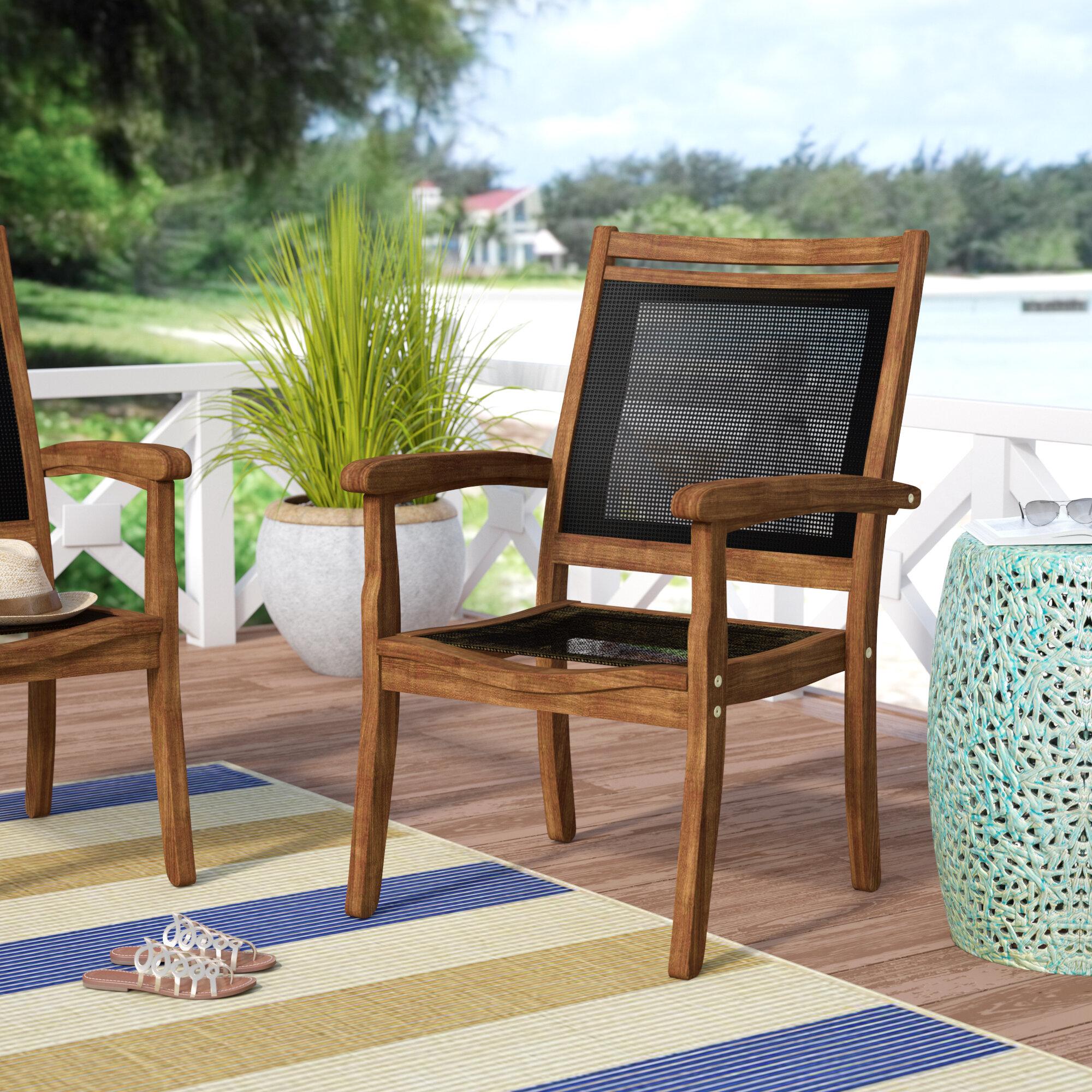 Beachcrest Home Tovar Sling And Eucalyptus Stackable Arm Chair Reviews Wayfair