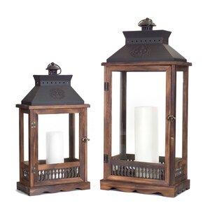 2 Piece Wood/Metal/Glass Lantern Set