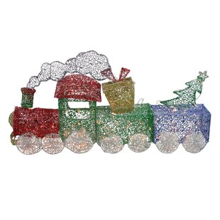 Glittering Christmas Train with Present and Tree Yard Lighted Display