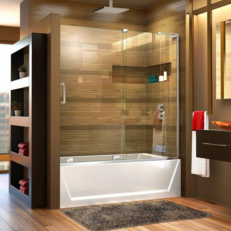 Mirage-X 58  x 60  Single Sliding Frameless Tub Door with ClearMax™ & DreamLine Mirage-X 58