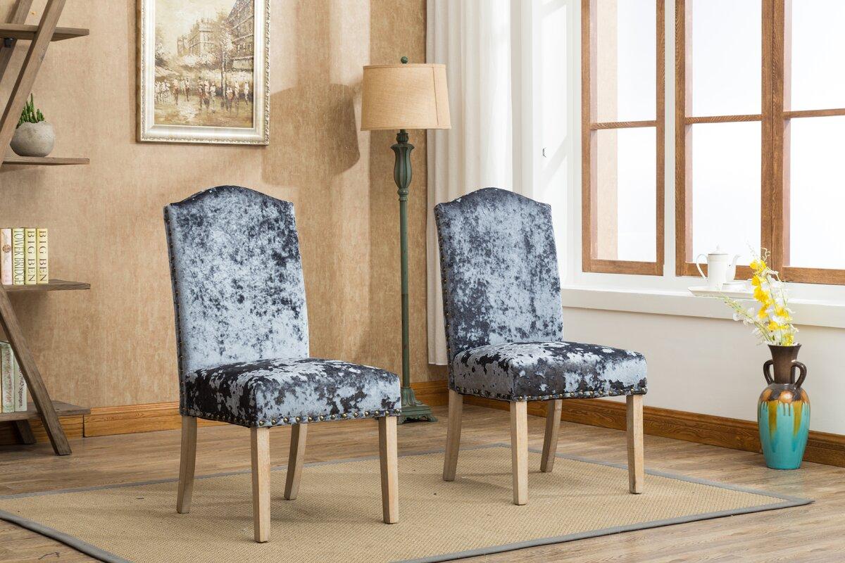 Wokefield Velvet Caen Nail Head Urban Ice Fabric Padded Parson Upholstered  Dining Chair