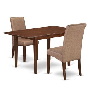 Carlie Kitchen Table 3 Piece Extendable Solid Wood Breakfast Nook Dining Set