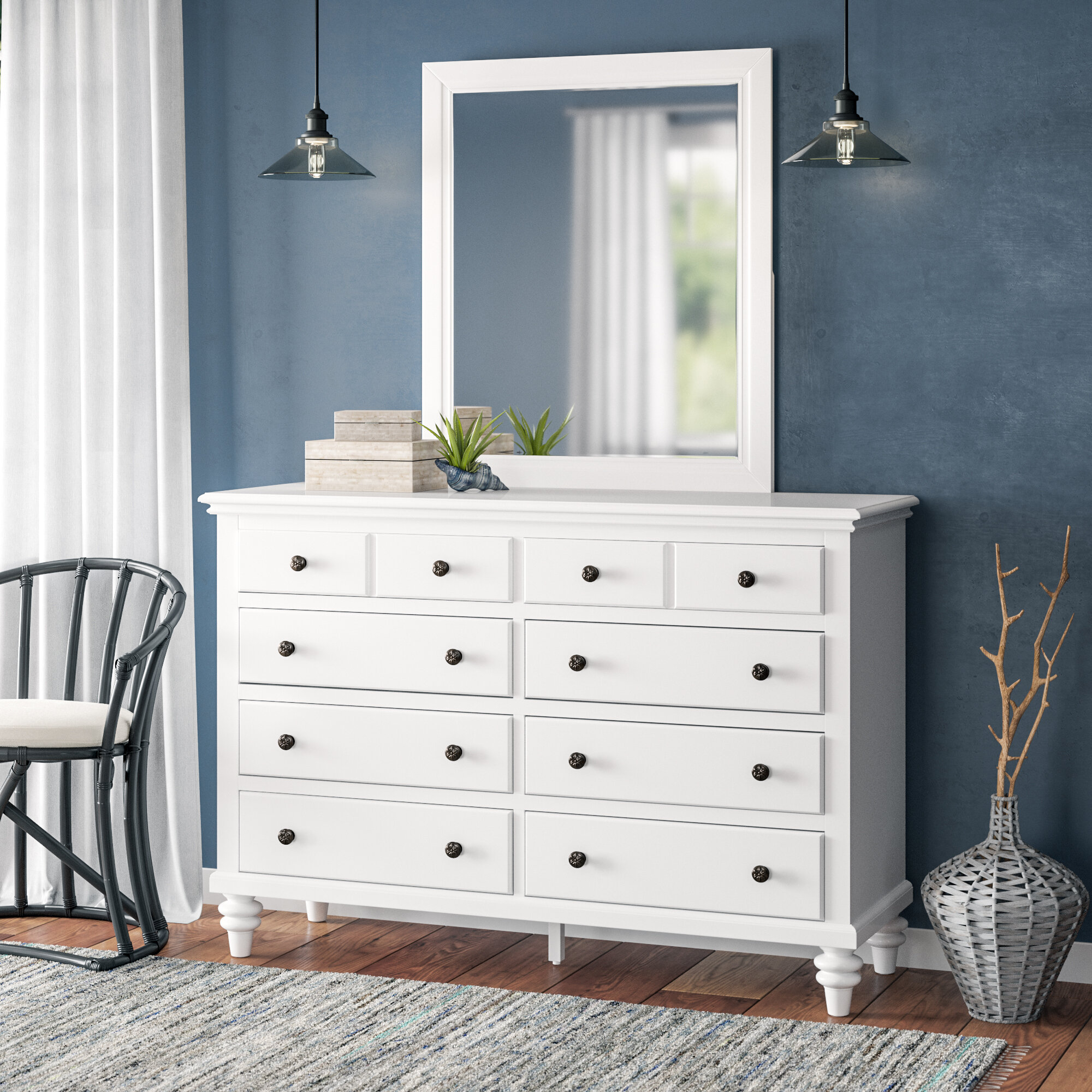 Beachcrest Home Harrison 8 Drawer Dresser With Mirror Reviews
